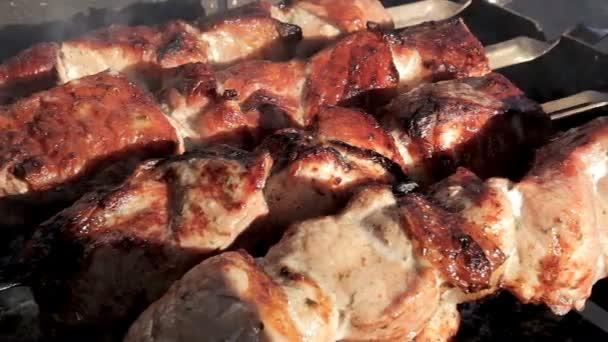 Pečené hovězí špíz Bbq gril. Marinujte, šašlik připravuje na grilu. Chutný šíš kebab na jehle.