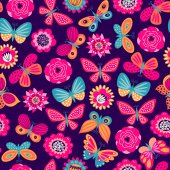 Photo Seamless pattern with butterflies and