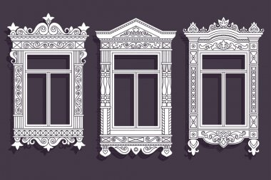Wooden decorating of windows of