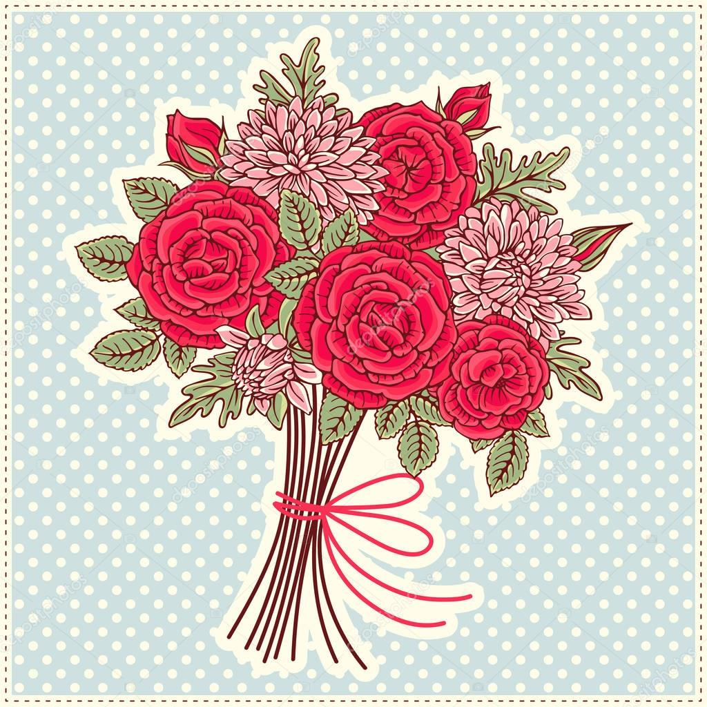 Illustration with decorative bouquet