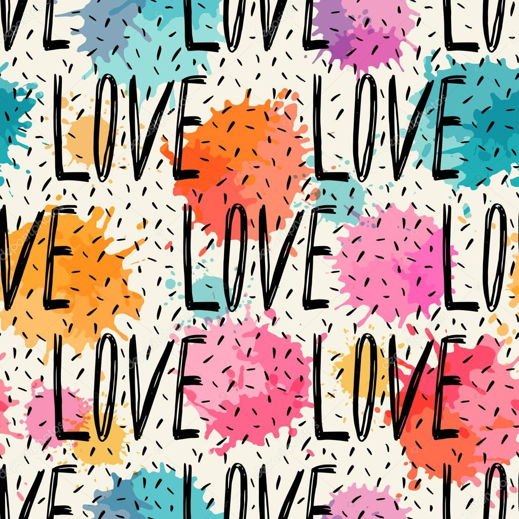 Seamless pattern of words. Love.