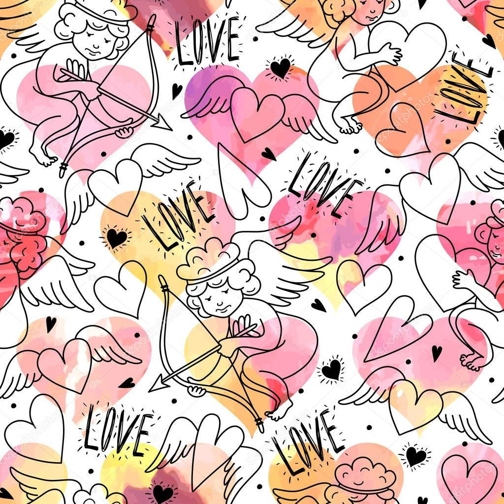 Seamless pattern with angels. Valentine's