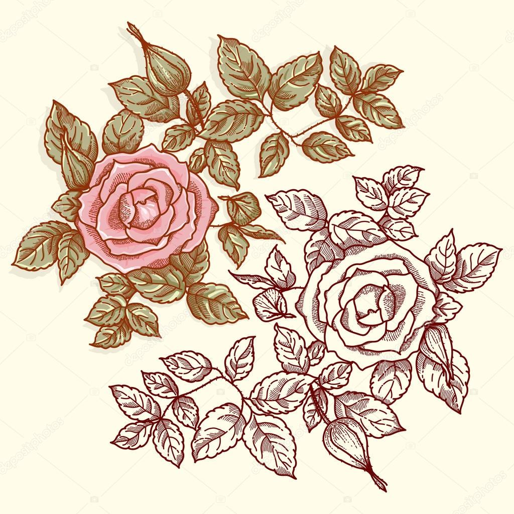 decorative ornament with roses