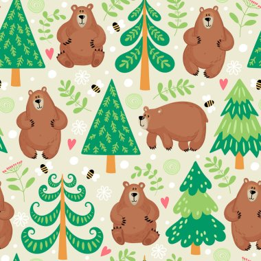 Seamless pattern with bears in