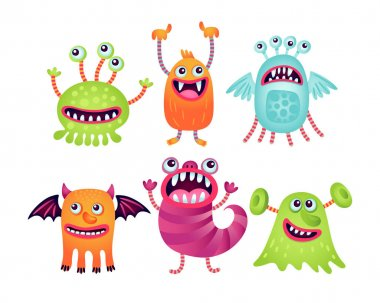 Set of illustrations with funny monsters. Cartoon stock vector