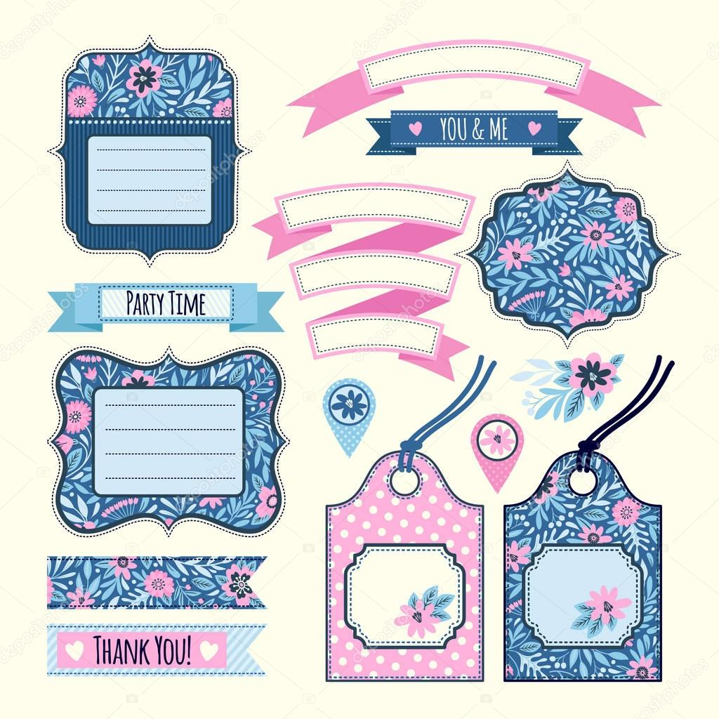 Vintage tags and elements. Templates.