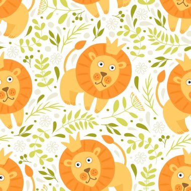 pattern with cartoon lions
