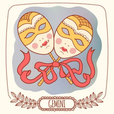 Illustration with Zodiac sign. Gemini