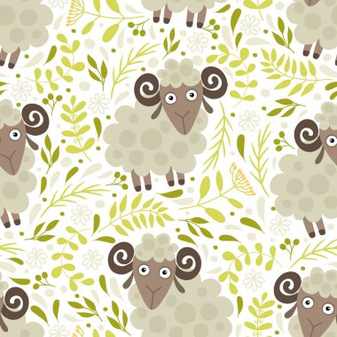 Seamless pattern with lambs