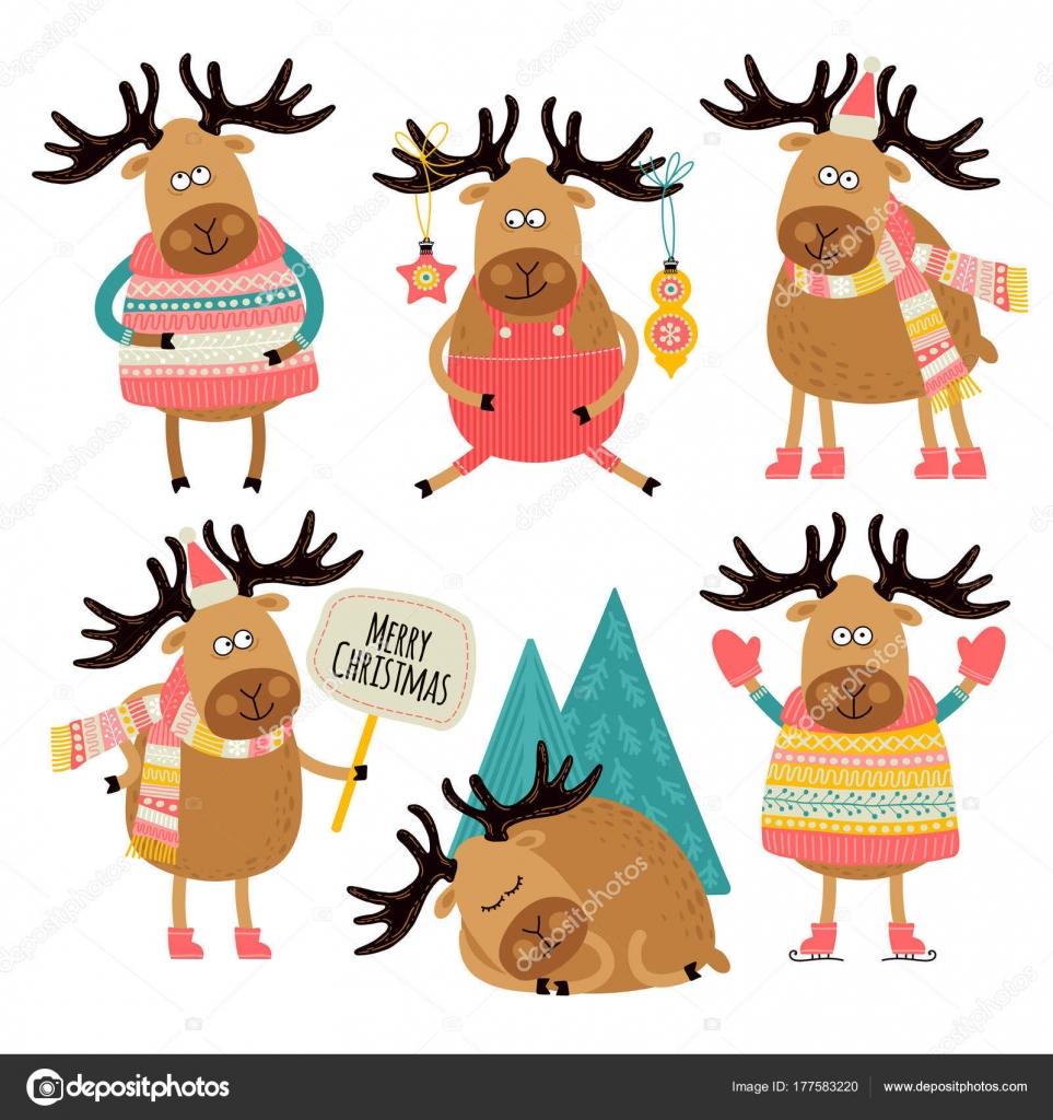 Comic Bilder Weihnachten.Weihnachten Muster Mit Comic Figuren Von Niedlichen Hirsch