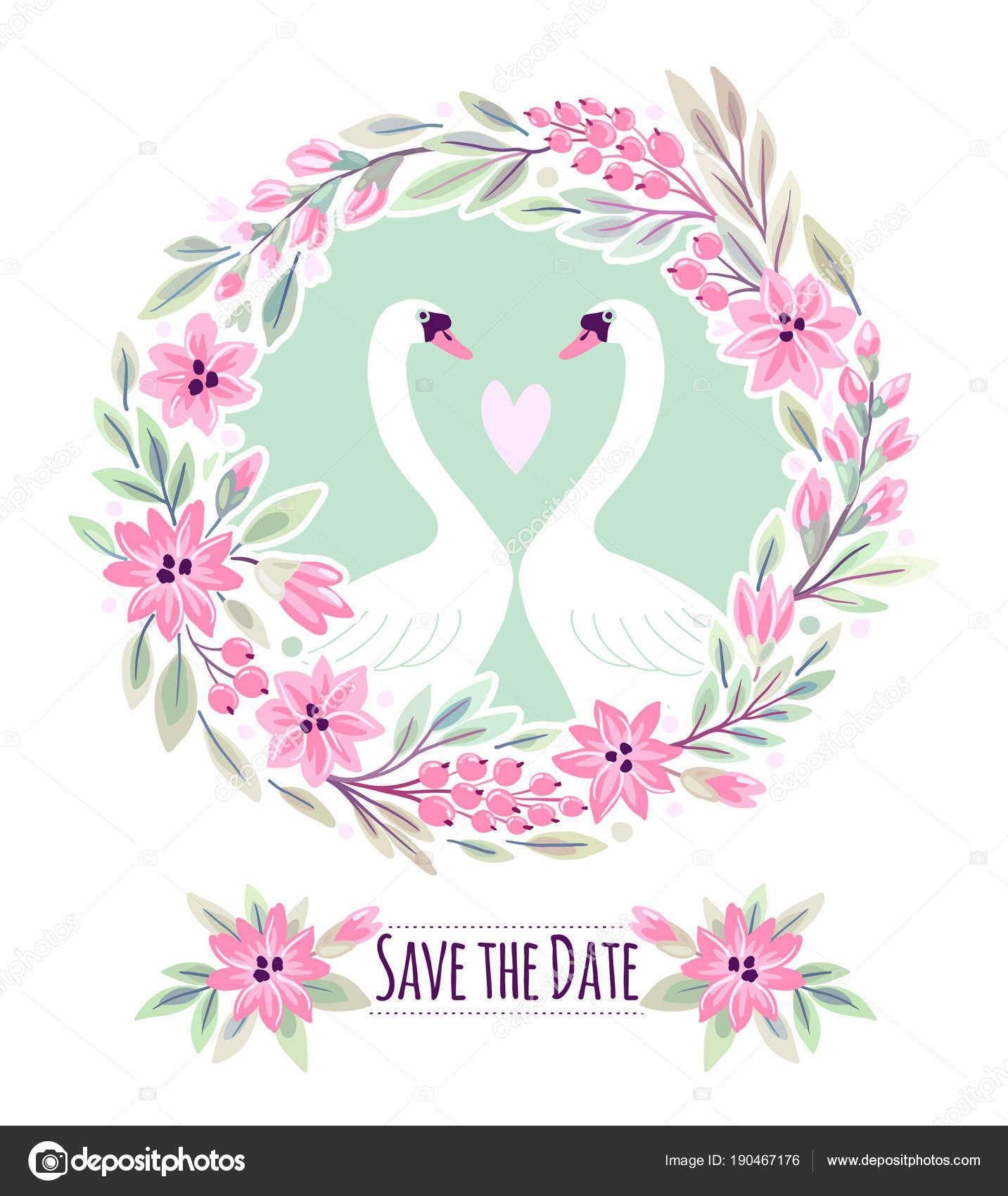 Wedding invitation pink flowers swans vector illustration freehand wedding invitation pink flowers swans vector illustration freehand drawing stock vector stopboris Images