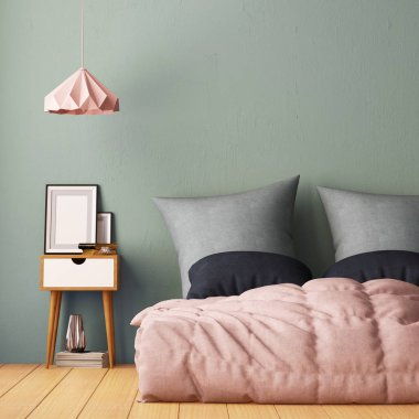 bedroom interior. Interior hipster style