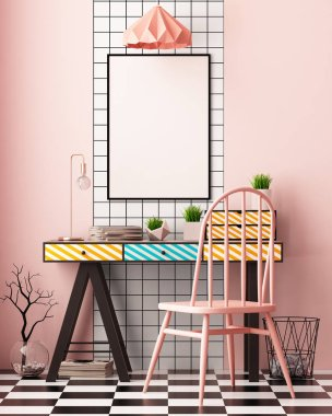 colorful interior with painted table. mock up poster