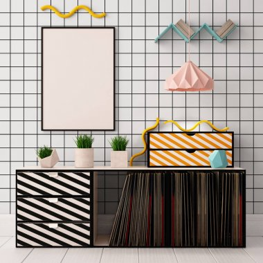 colorful interior with locker. mock up poster