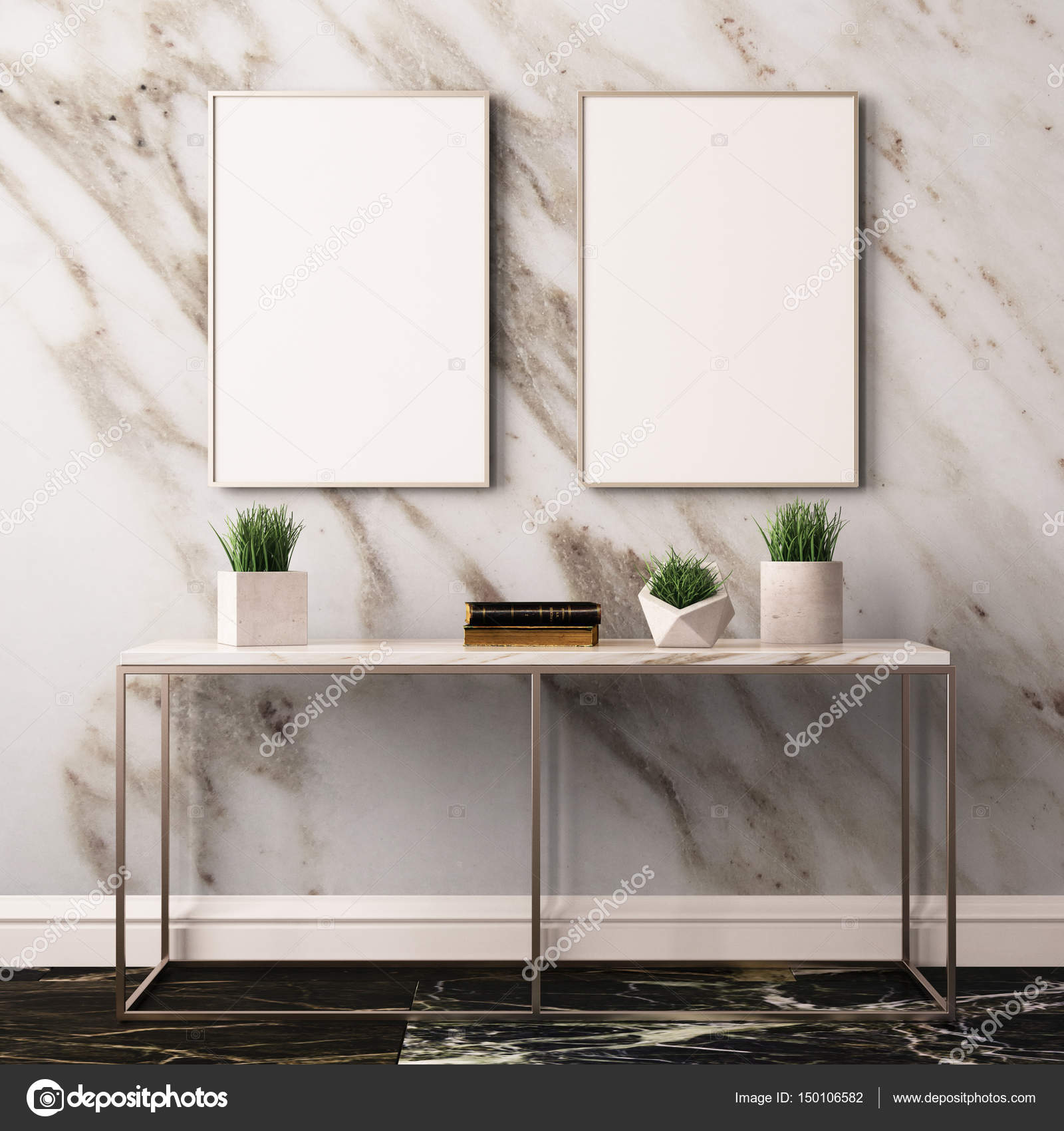 moderne kamer interieur met tafel en frames stockfoto