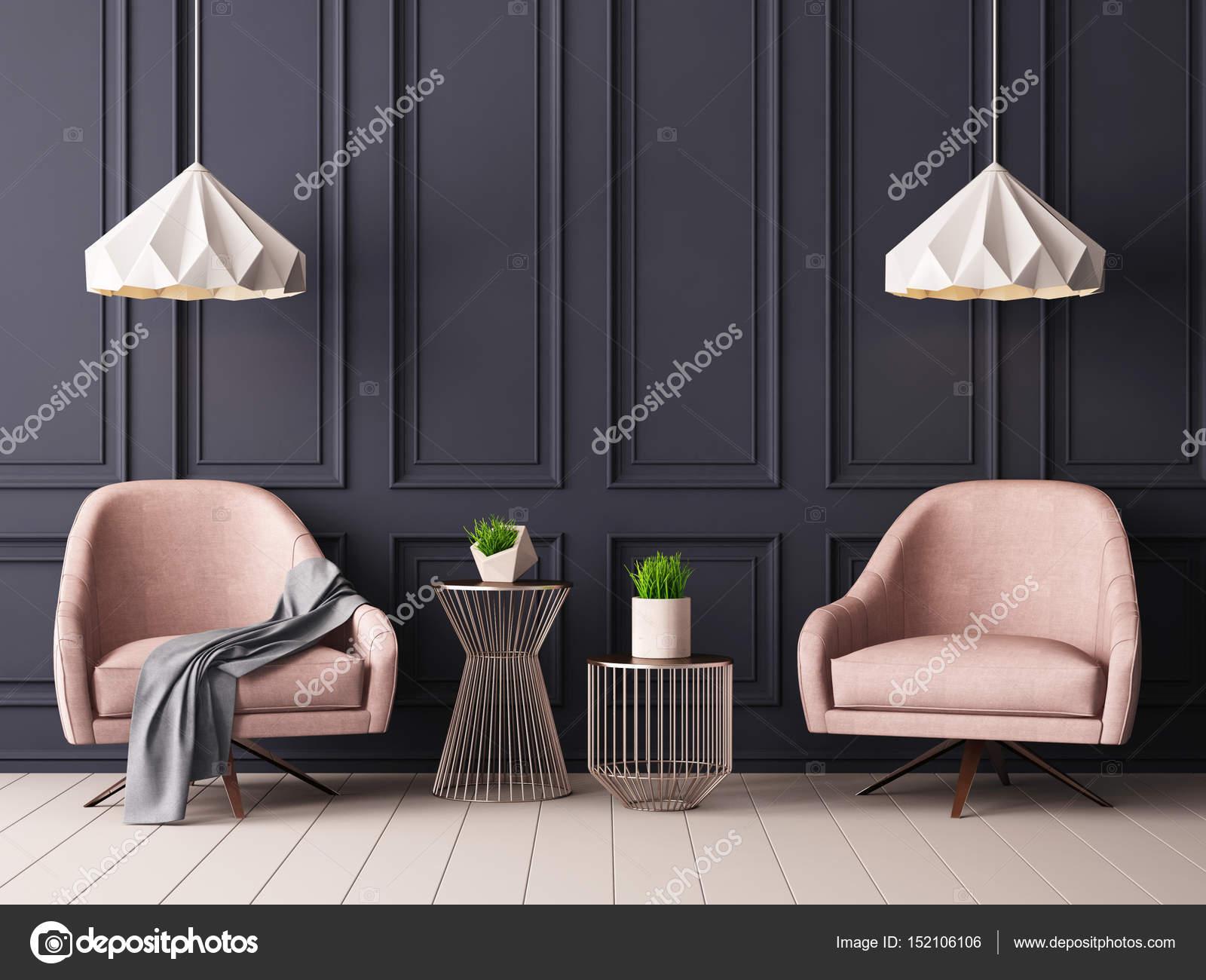 moderne kamer interieur met leunstoelen en lampen stockfoto