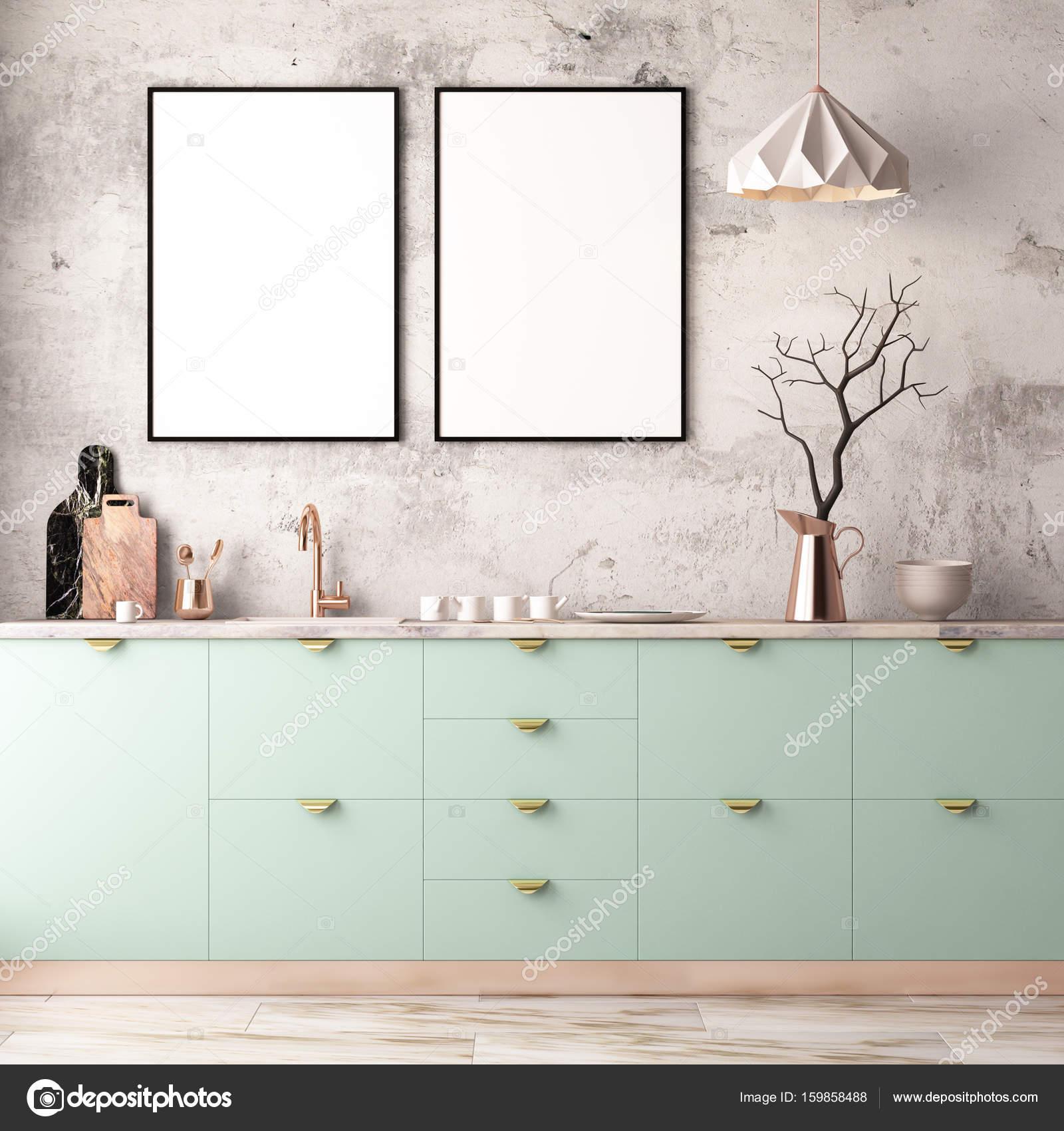 interieur keuken in pastel kleuren stockfoto