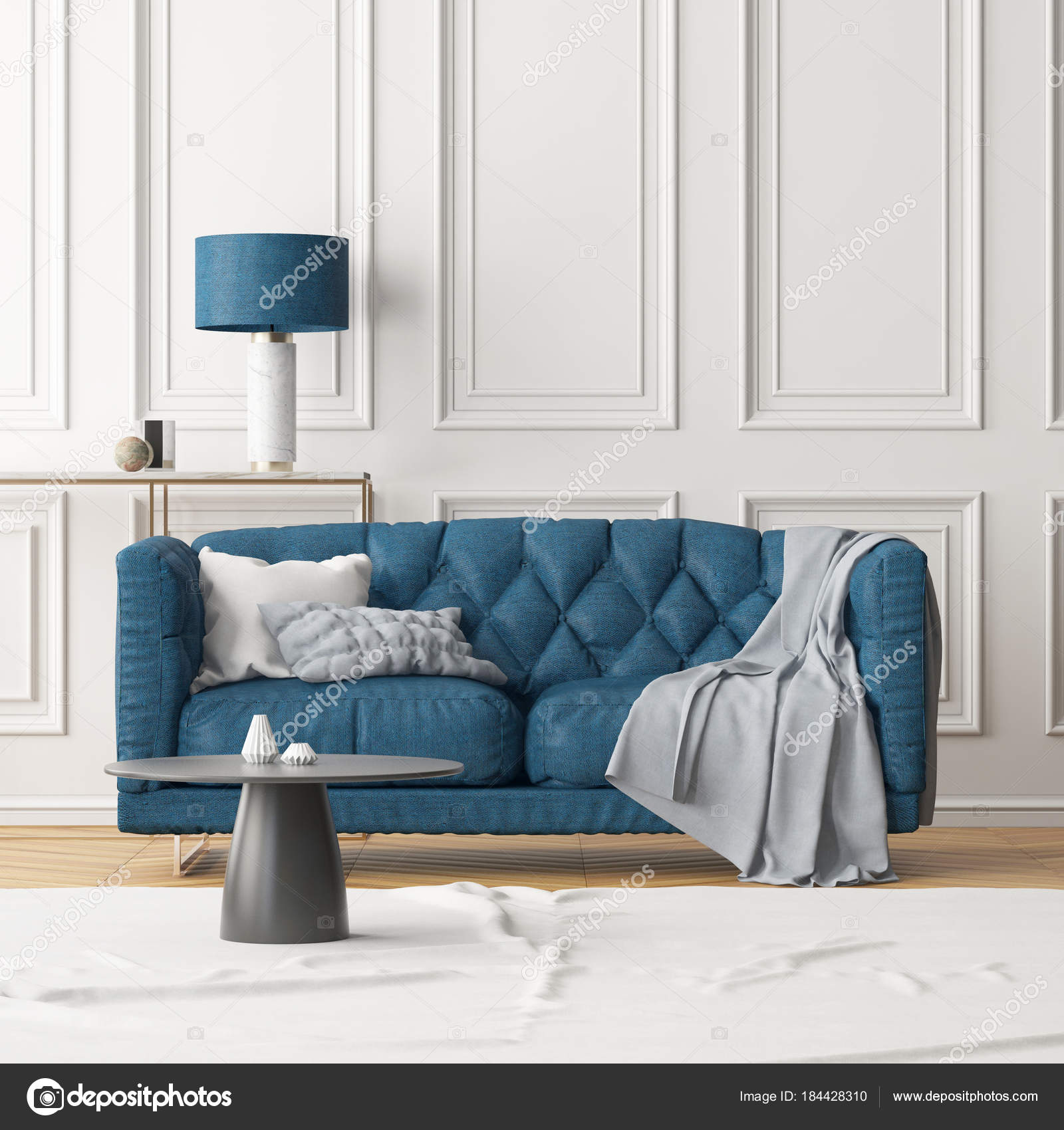 Living Room Modern Interior Dark Blue Sofa Lamp White Wall — Stock ...