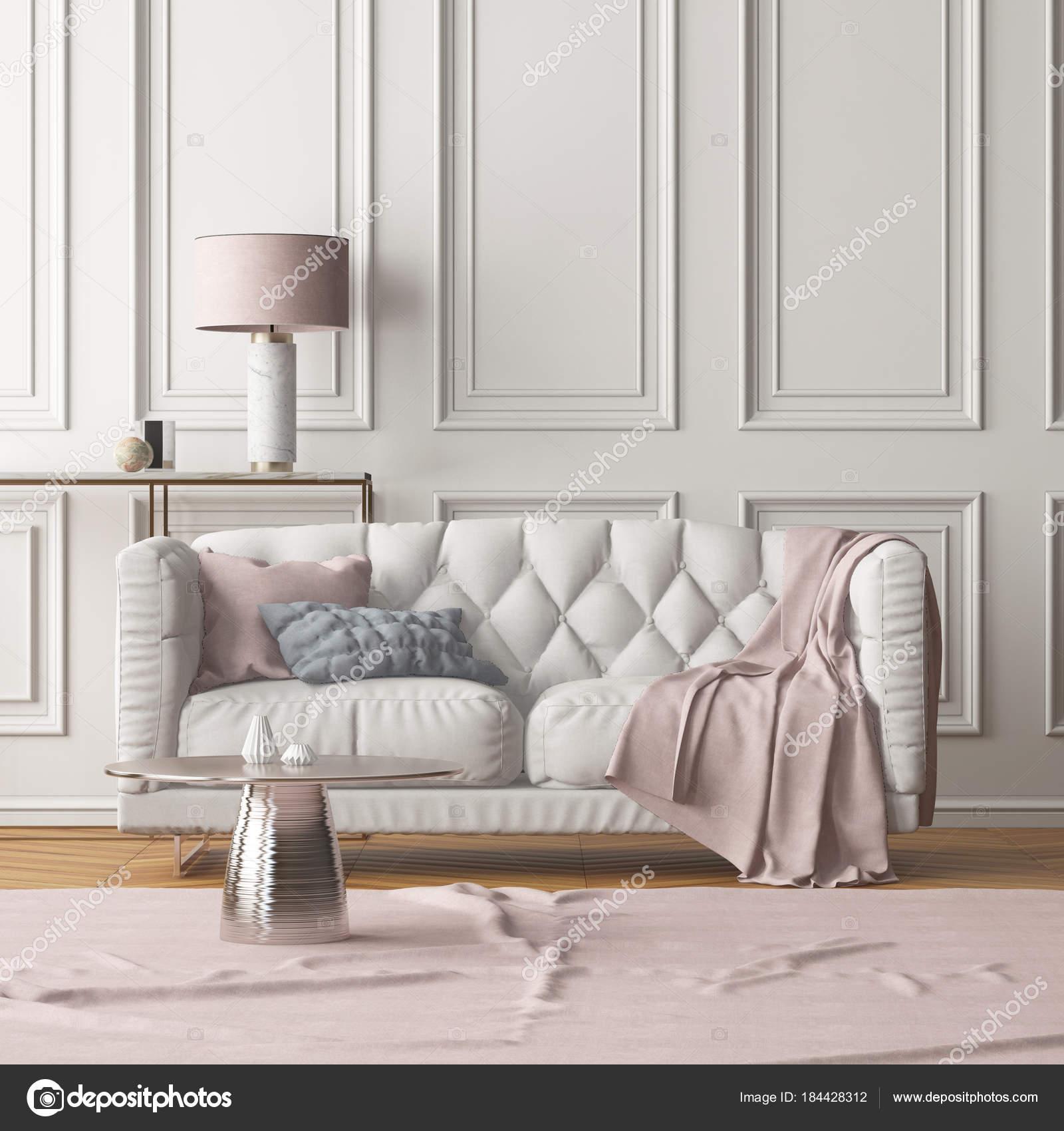 Int Rieur Moderne Salle S Jour Avec Canap Blanc Mur Couleur