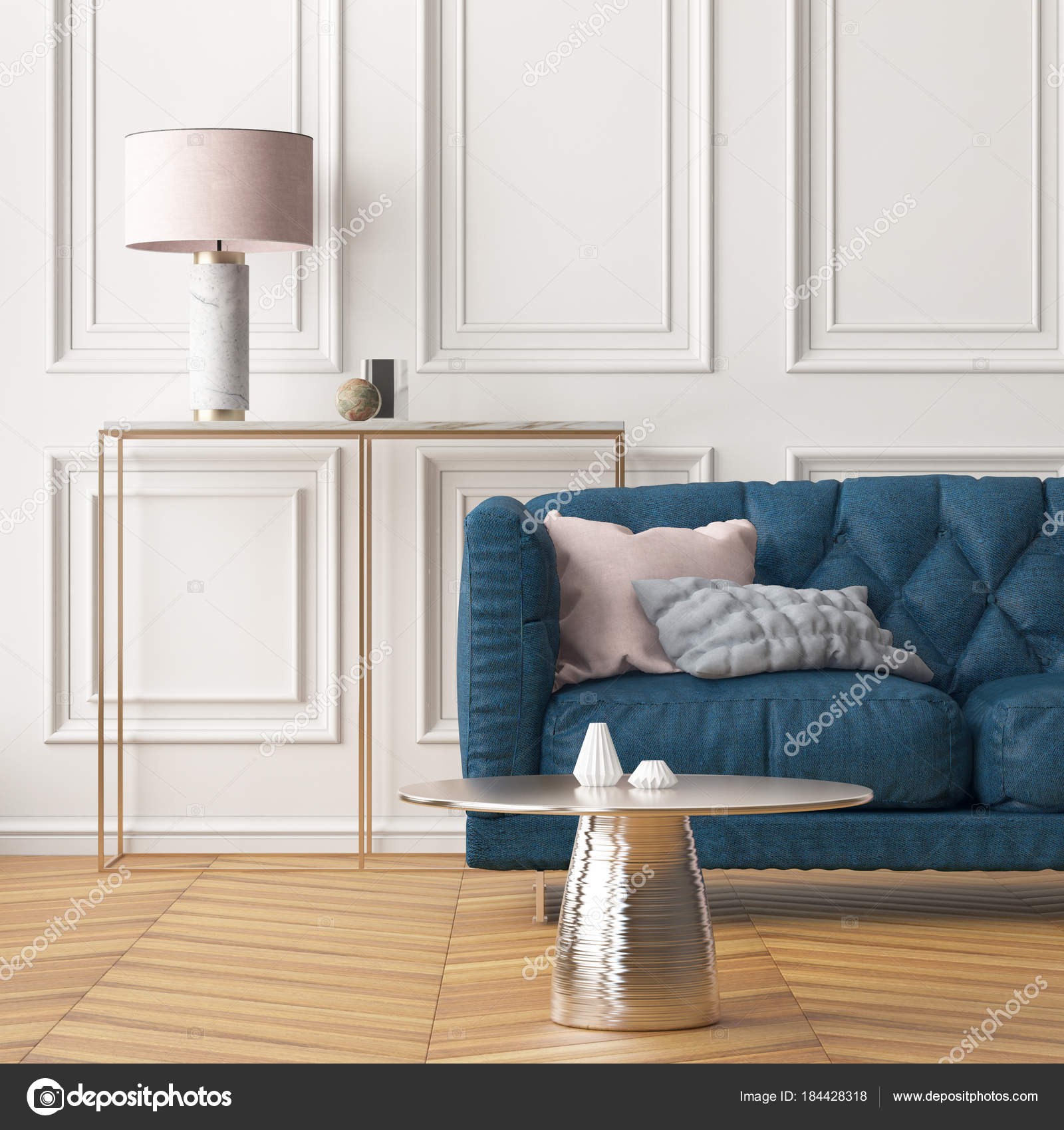 Decoration Moderne Salon Avec Canape Bleu Fonce Mur Blanc