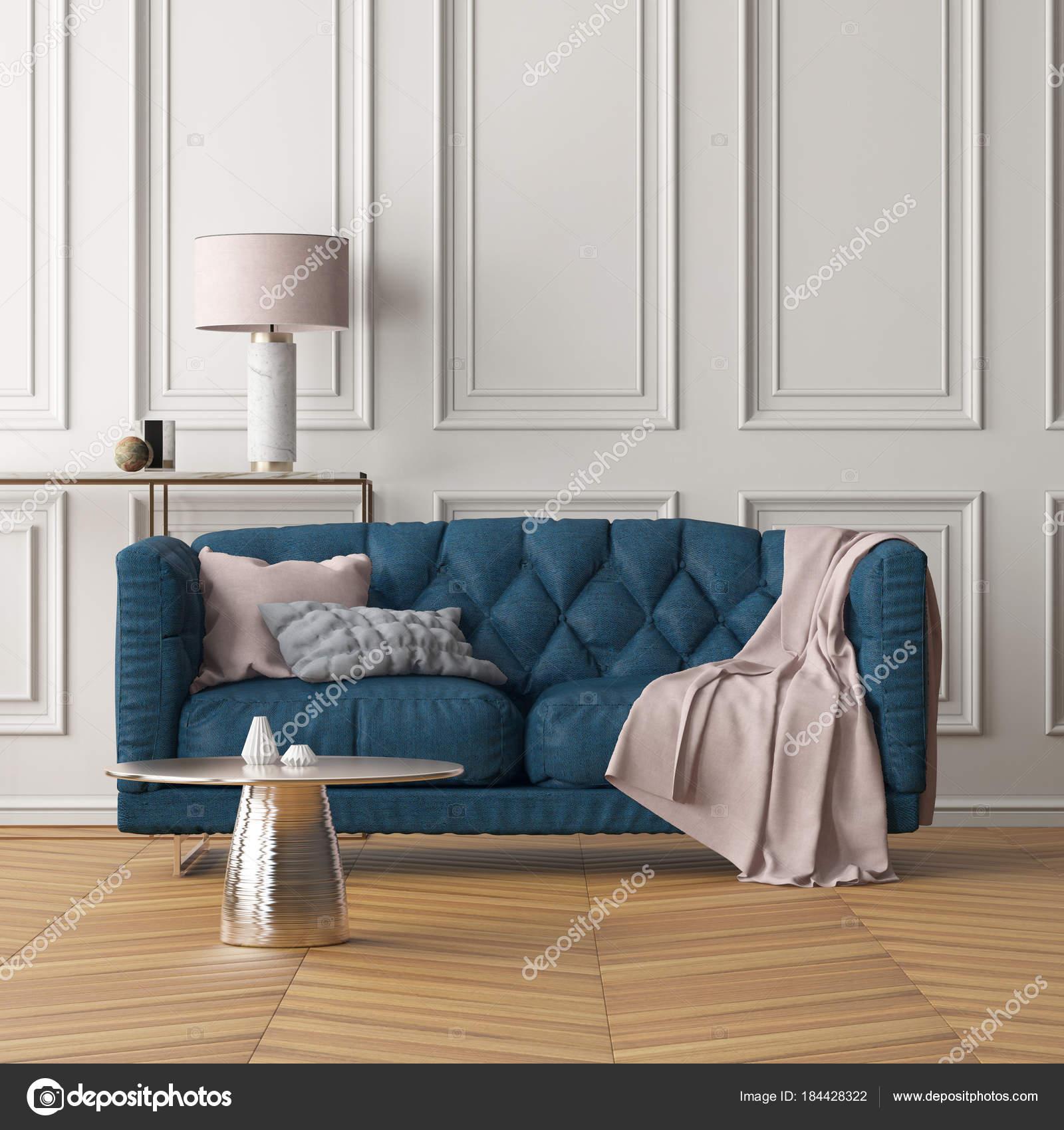 Captivant Décoration Moderne De Salon Avec Canapé Bleu Foncé Et Mur Blanc. Couleur  Tendance.