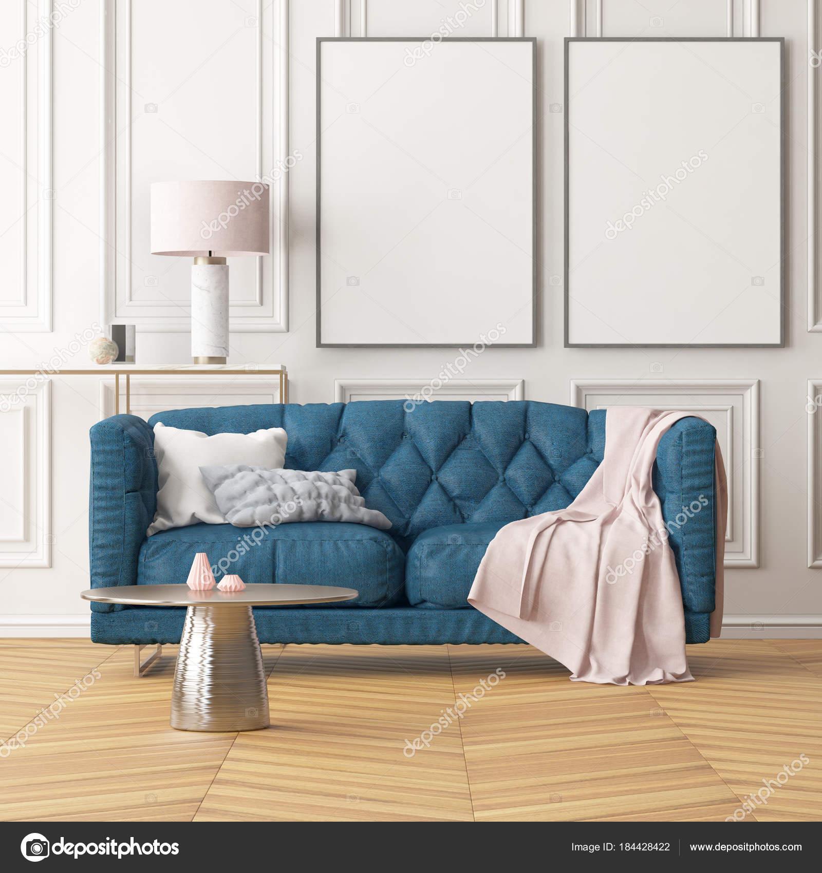 Sala Estar Interior Moderno Com Quadros Branco Parede Branca Azul  -> Quadros De Parede Para Sala De Estar