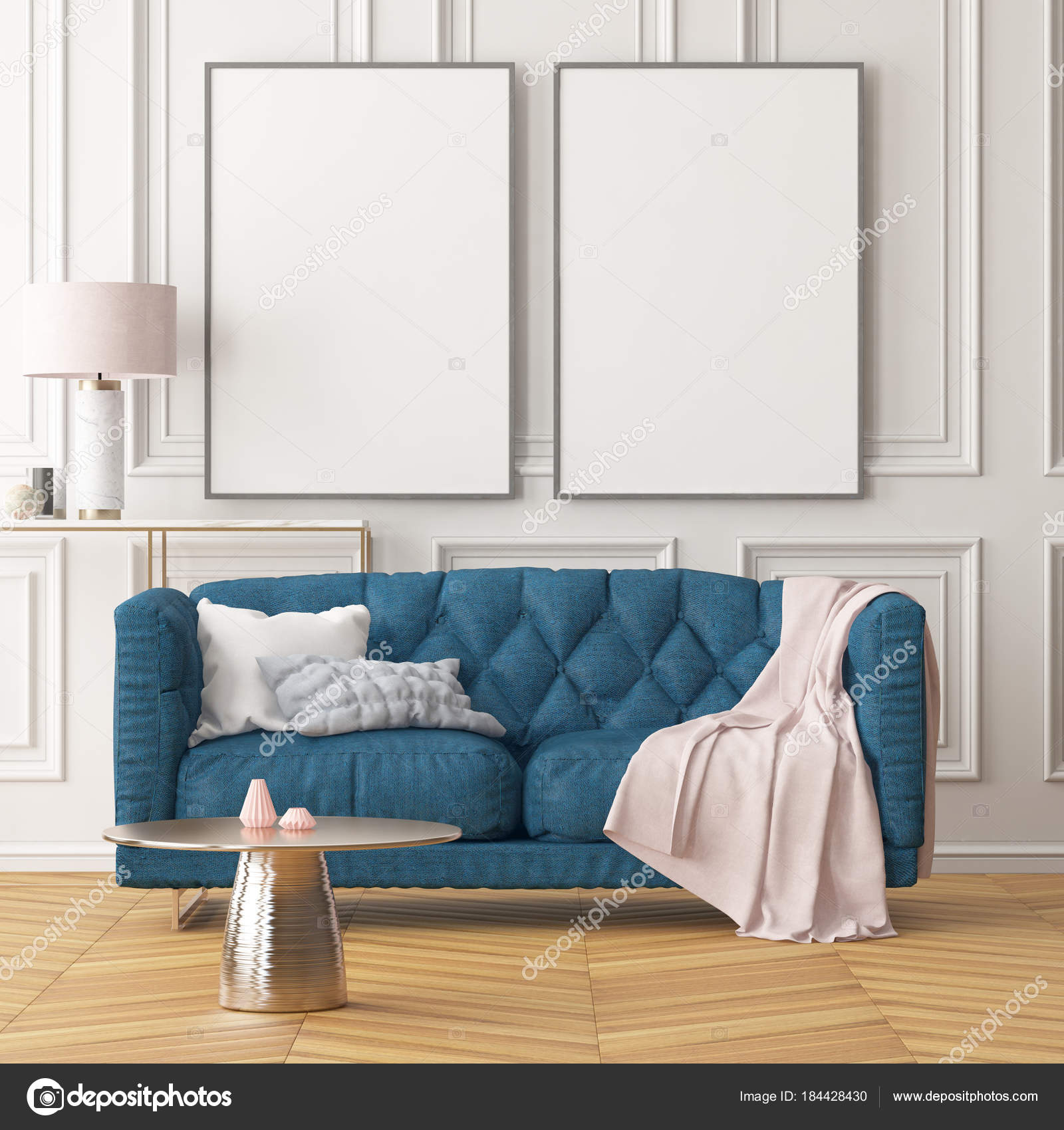 Living Room Modern Interior Blank Frames White Wall Blue Sofa ...