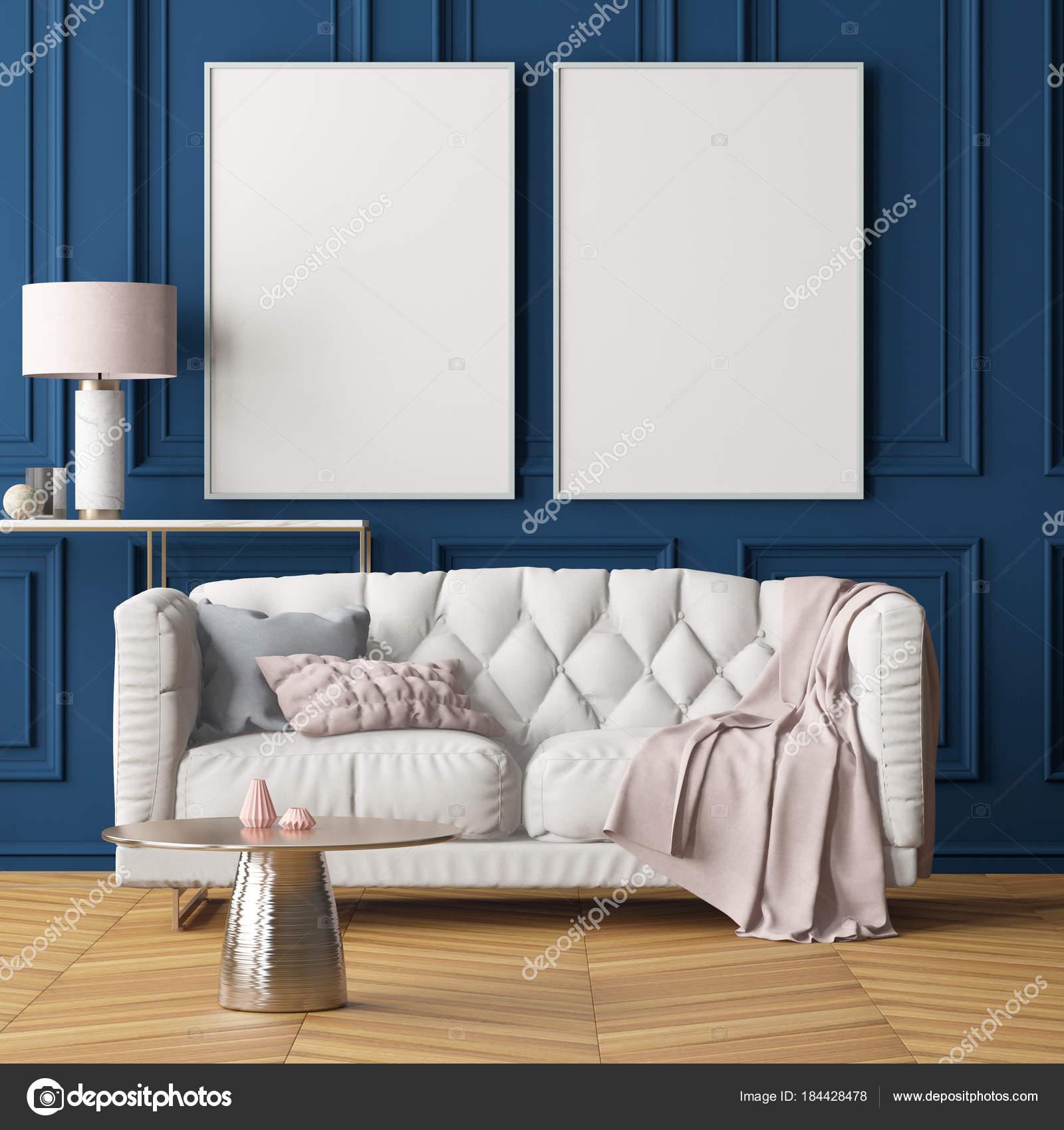 Living Room Modern Interior Blank Frames Dark Blue Wall Sofa — Stock ...