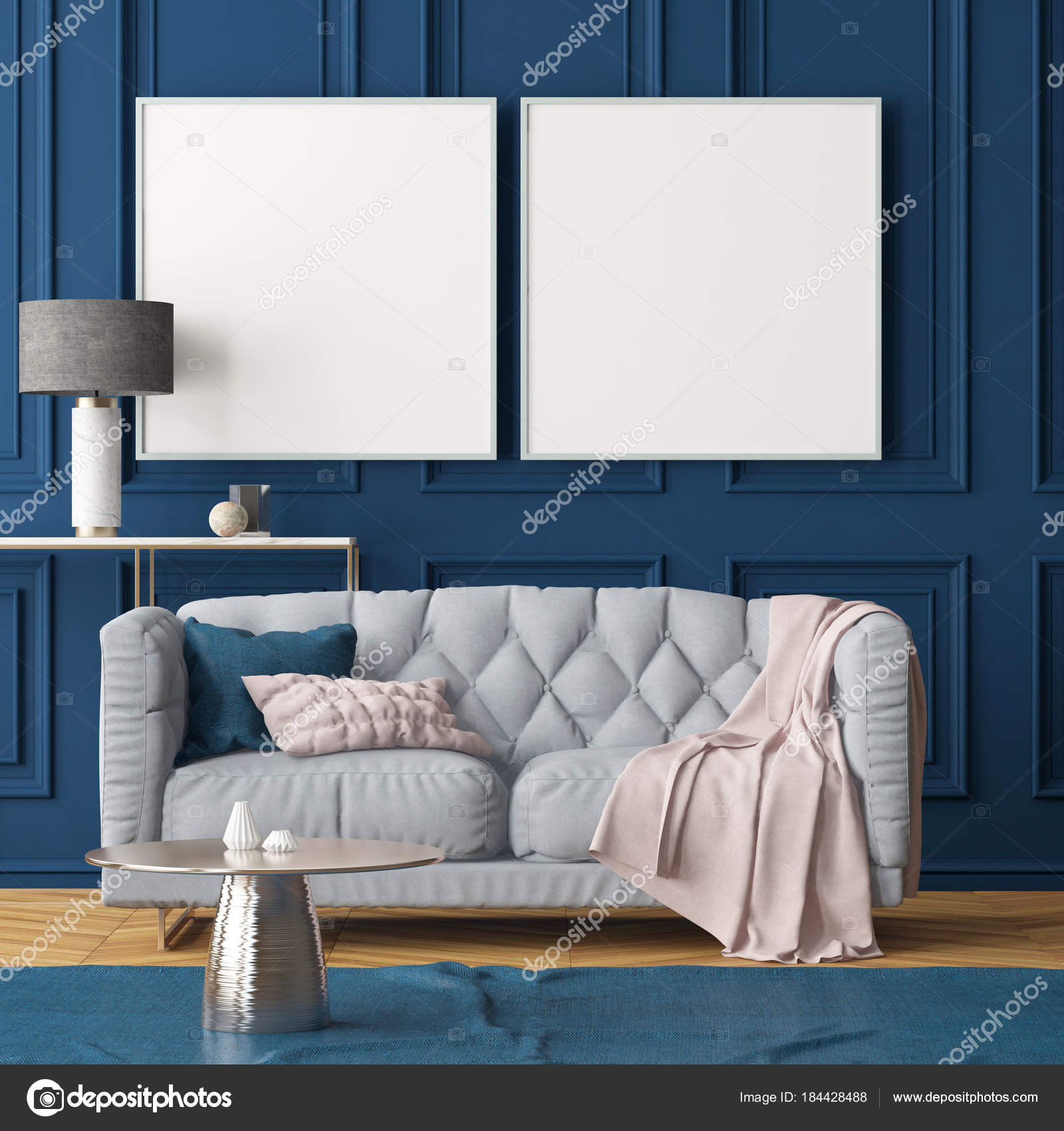 Woonkamer Modern Interieur Met Lege Frames Donker Blauwe Muur Bank ...
