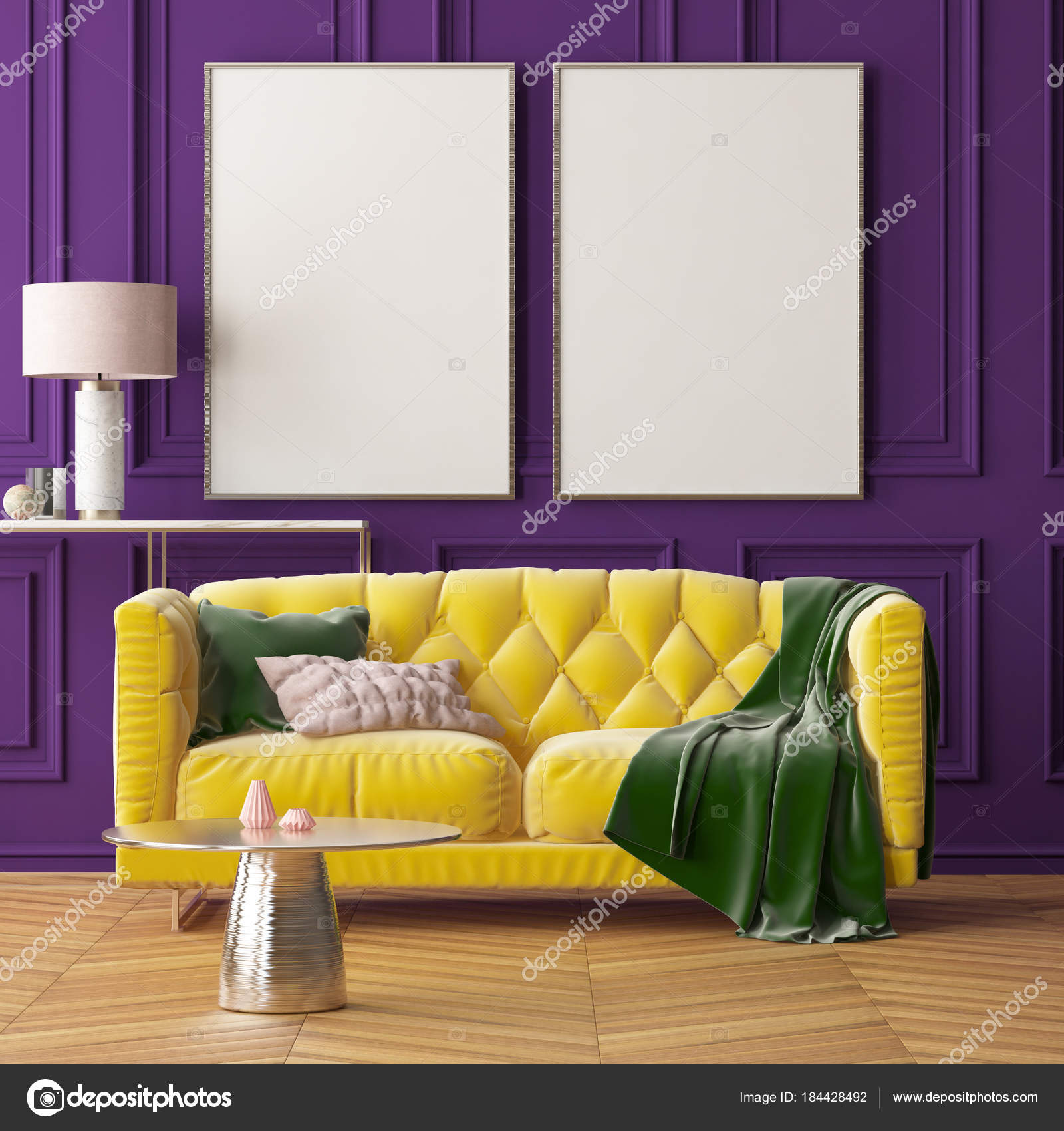 interior living room purple wall yellow sofa table white lamp rh depositphotos com