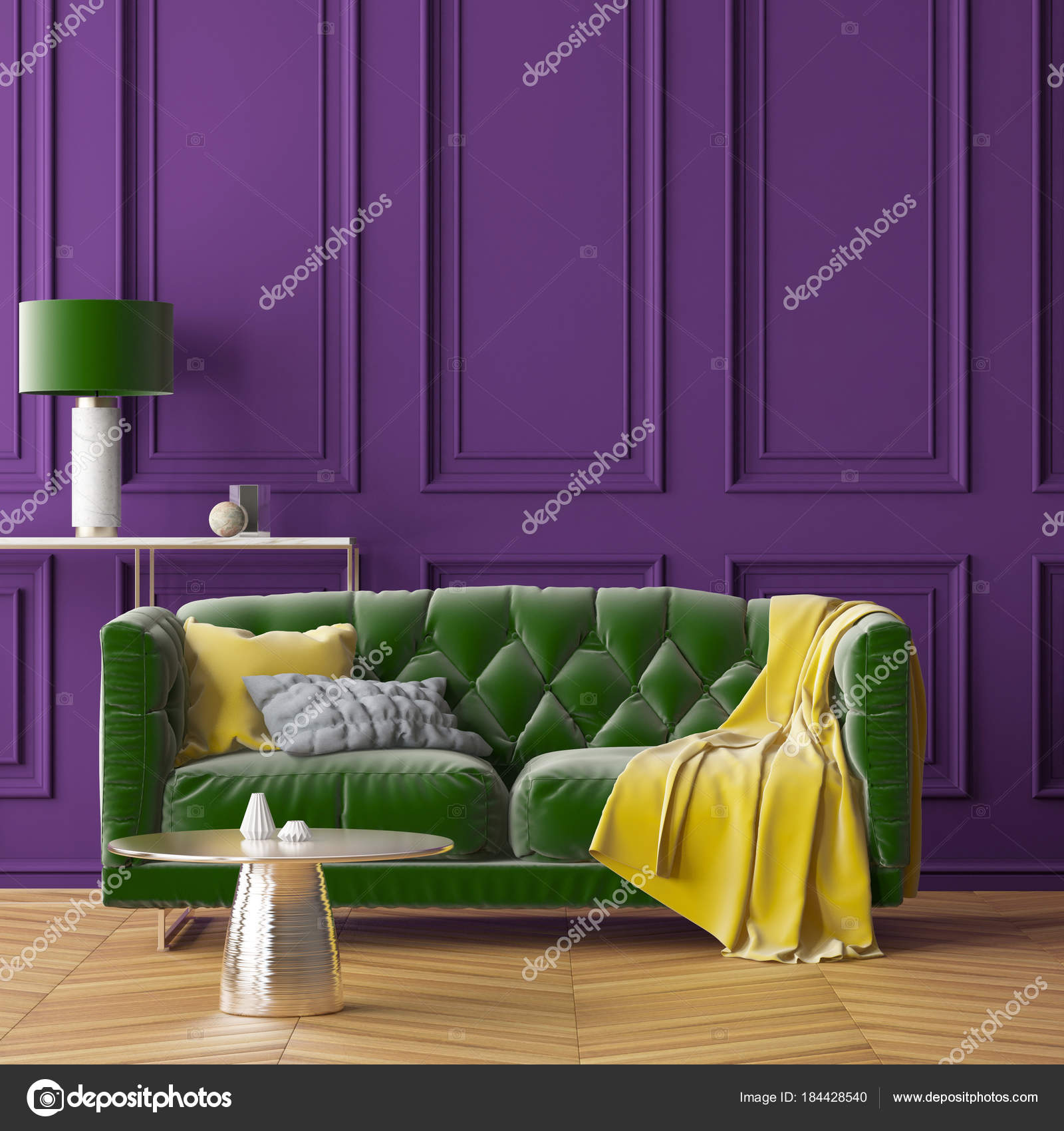 interior living room purple wall green sofa green lamp trend stock rh depositphotos com