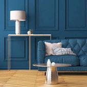 Fotografie Obývací pokoj interiér s tmavě modré zdi a pohovkou. Barva trend. 3D