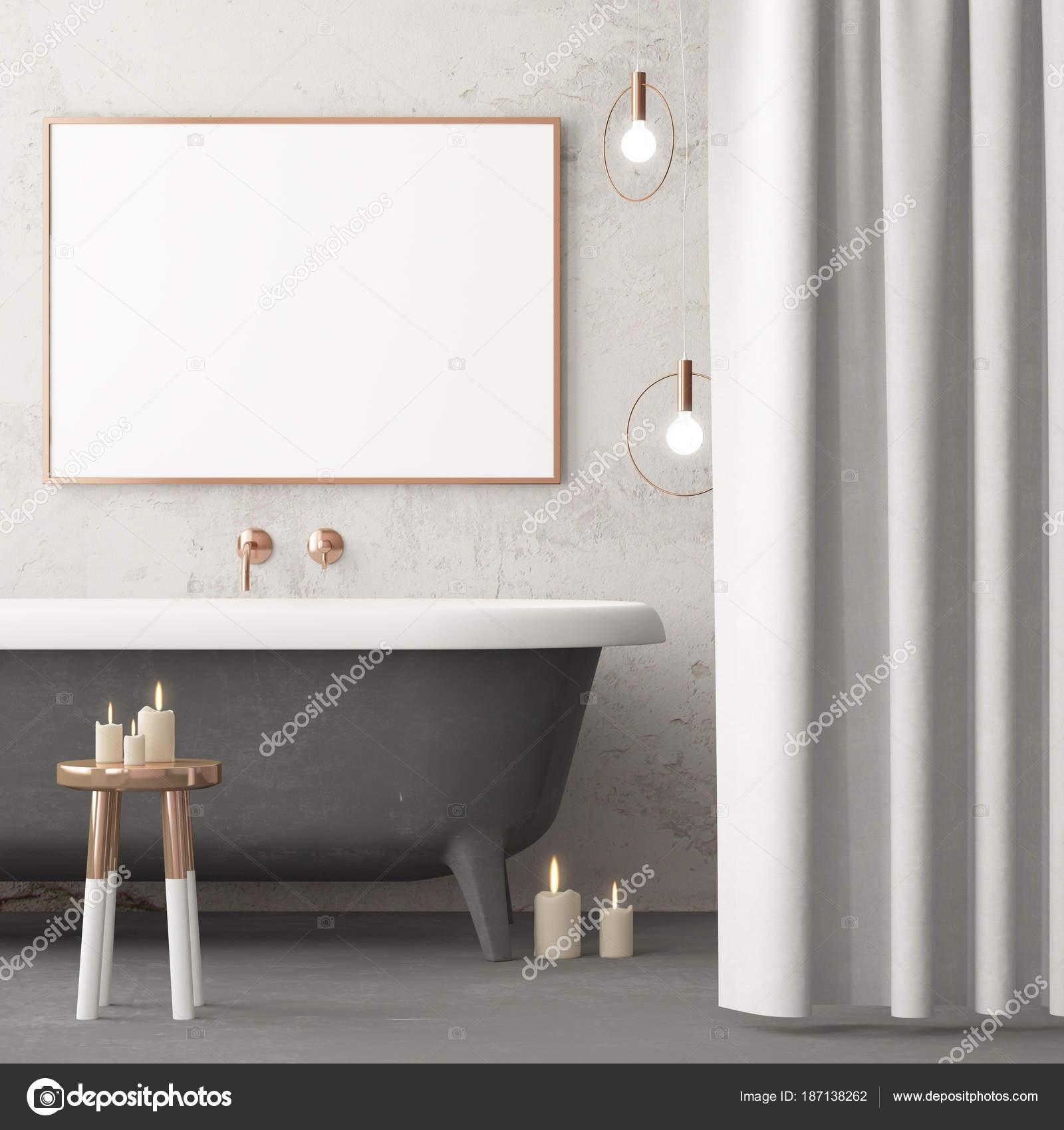 maquette affiche dans salle bain dans style vintage couleur tendance