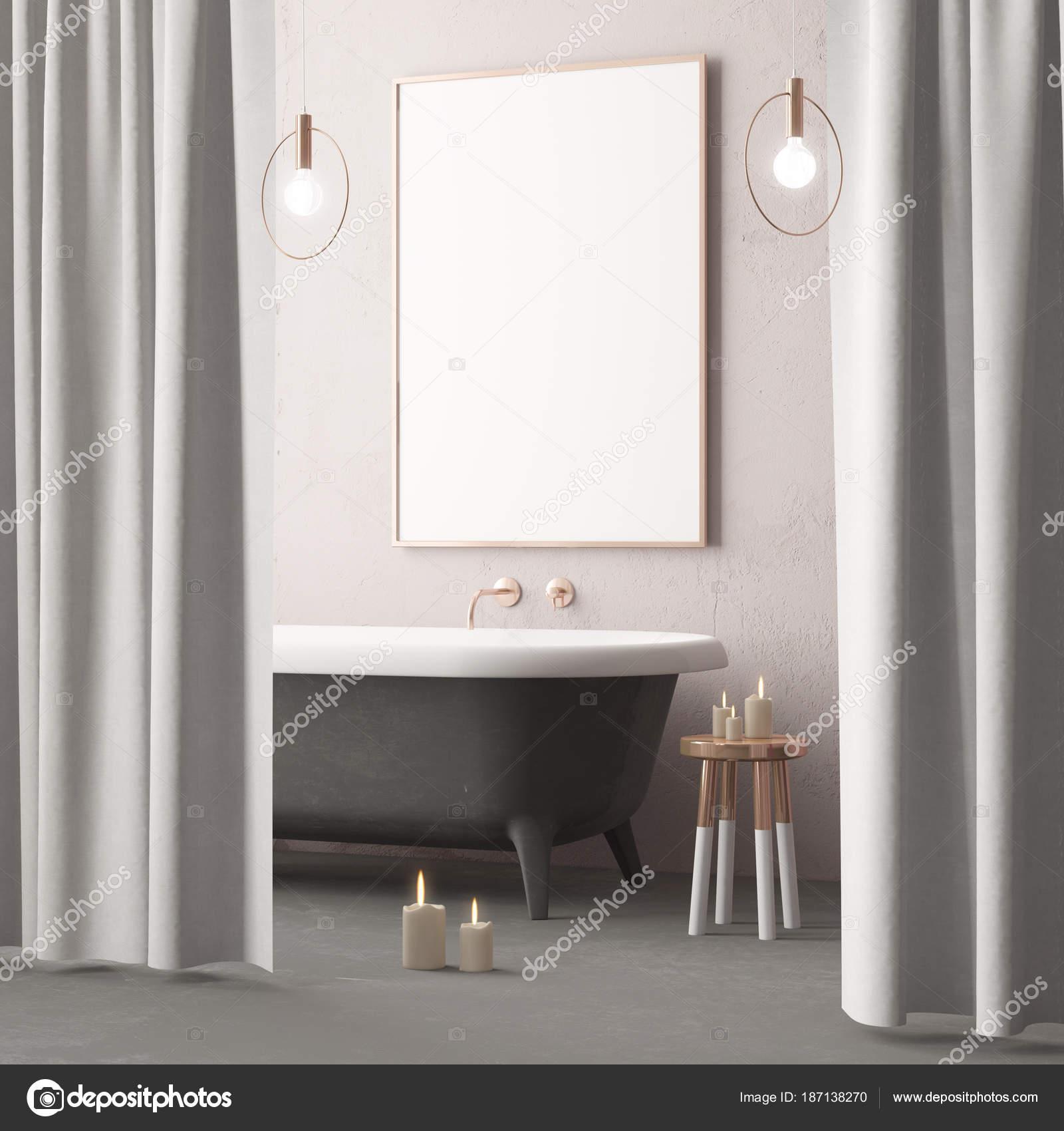 Fantastisch Mock Plakat Badezimmer Vintage Stil Trendfarbe U2014 Stockfoto