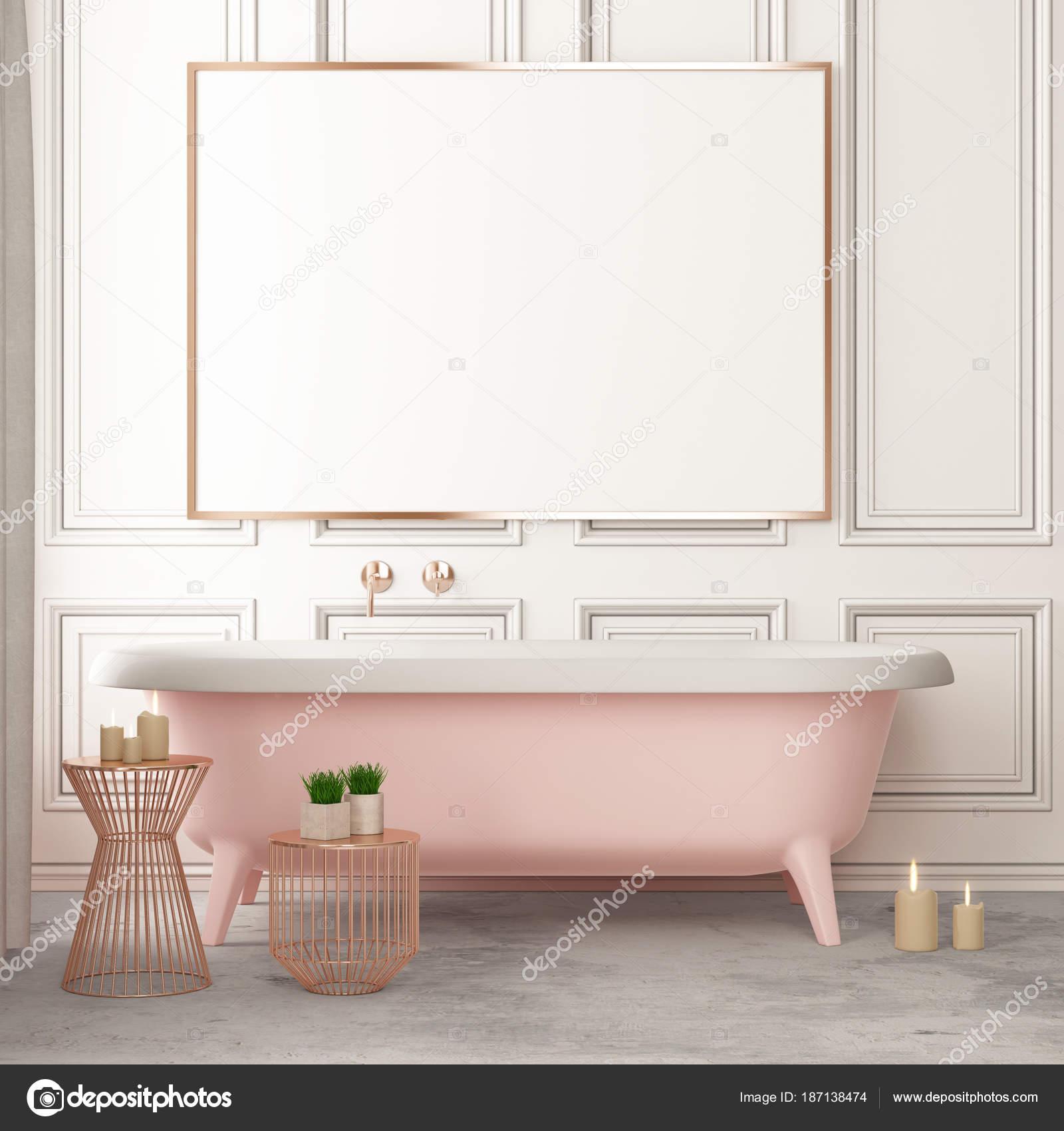 Mock Plakat Badezimmer Vintage Stil Trendfarbe Stockfoto Fill239