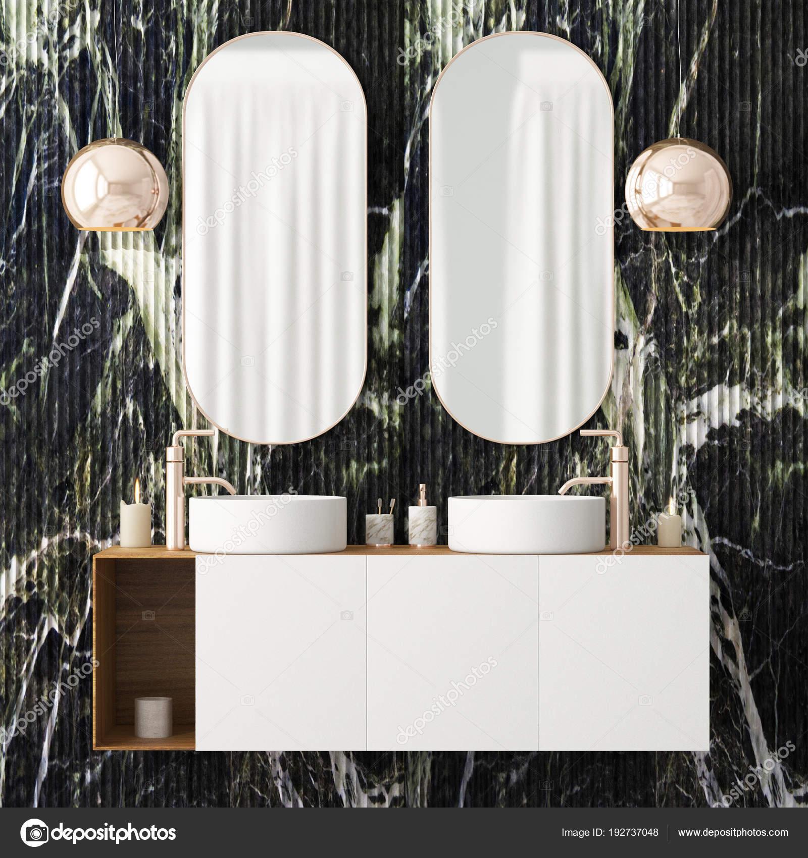 Intérieur Salle Bain Avec Deux Miroirs Style Art Déco ...