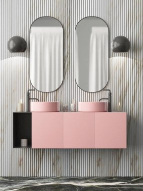 Bathroom interior with two mirrors in art deco style