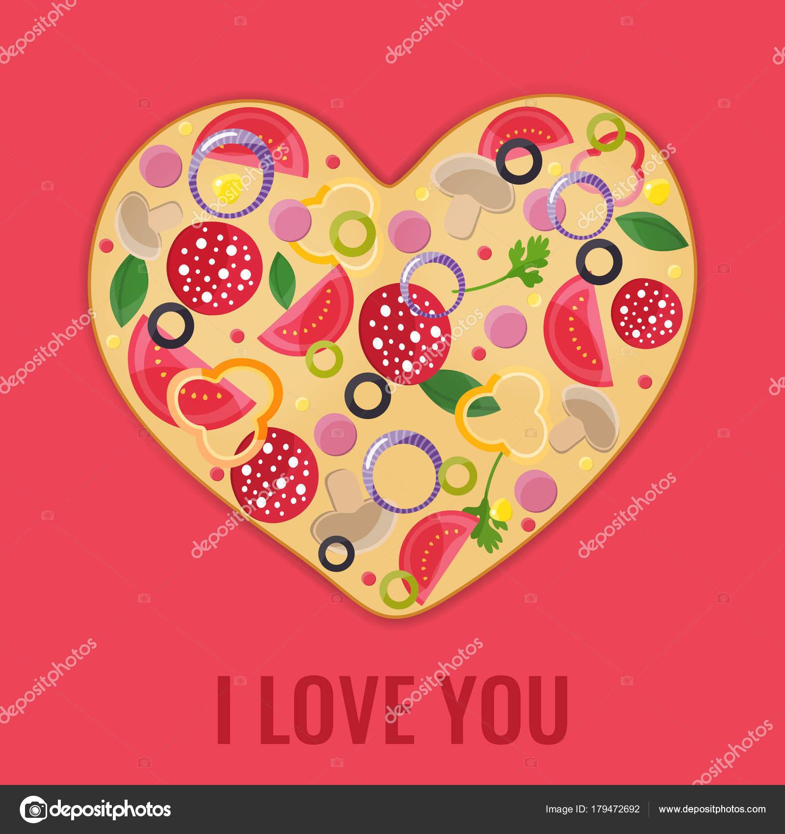 Valentinstag Menu Design Pizza Herz Stockvektor C Giniatulina