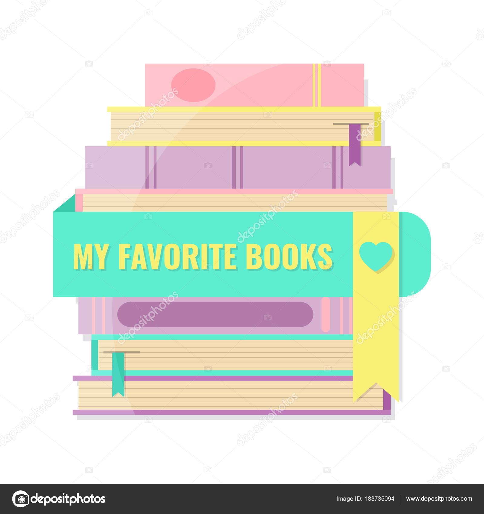 Meine Lieblings-Bücher-Konzept. Stapel von Büchern und Lesezeichen ...