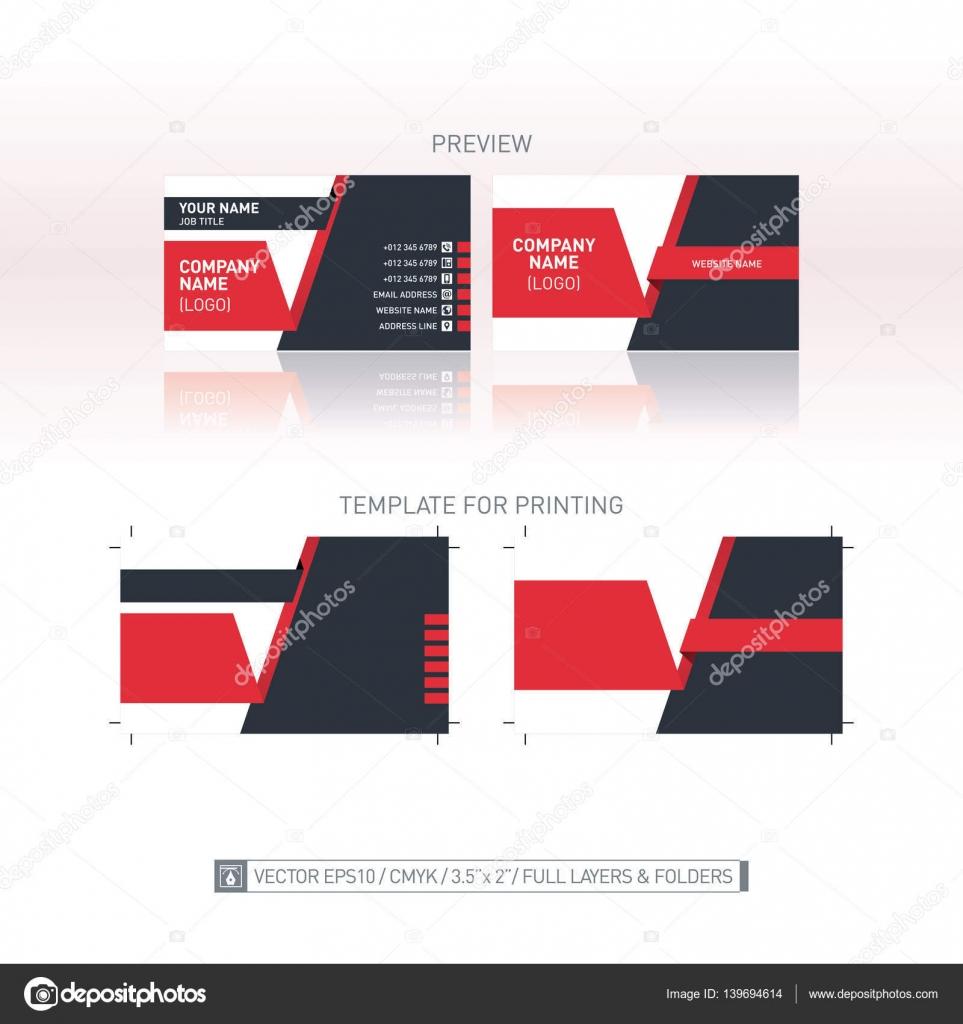 Modele De Carte Visite Vecteur Dimensions Individuelles Pour Limpression Illustration Stock