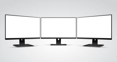 Three Computer Monitors Mockup with white blank screen