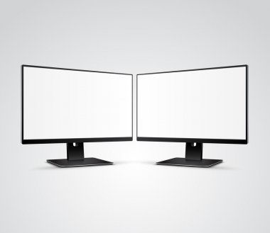 Two Computer Monitors Mockup with blank screen