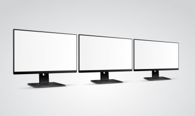 Three modern Computer Monitors Mockup with white blank screen