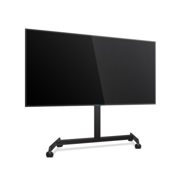 Flat Smart TV Mockup on the Floor Stand with wheels. Realistic Vector TV Screen, LED TV