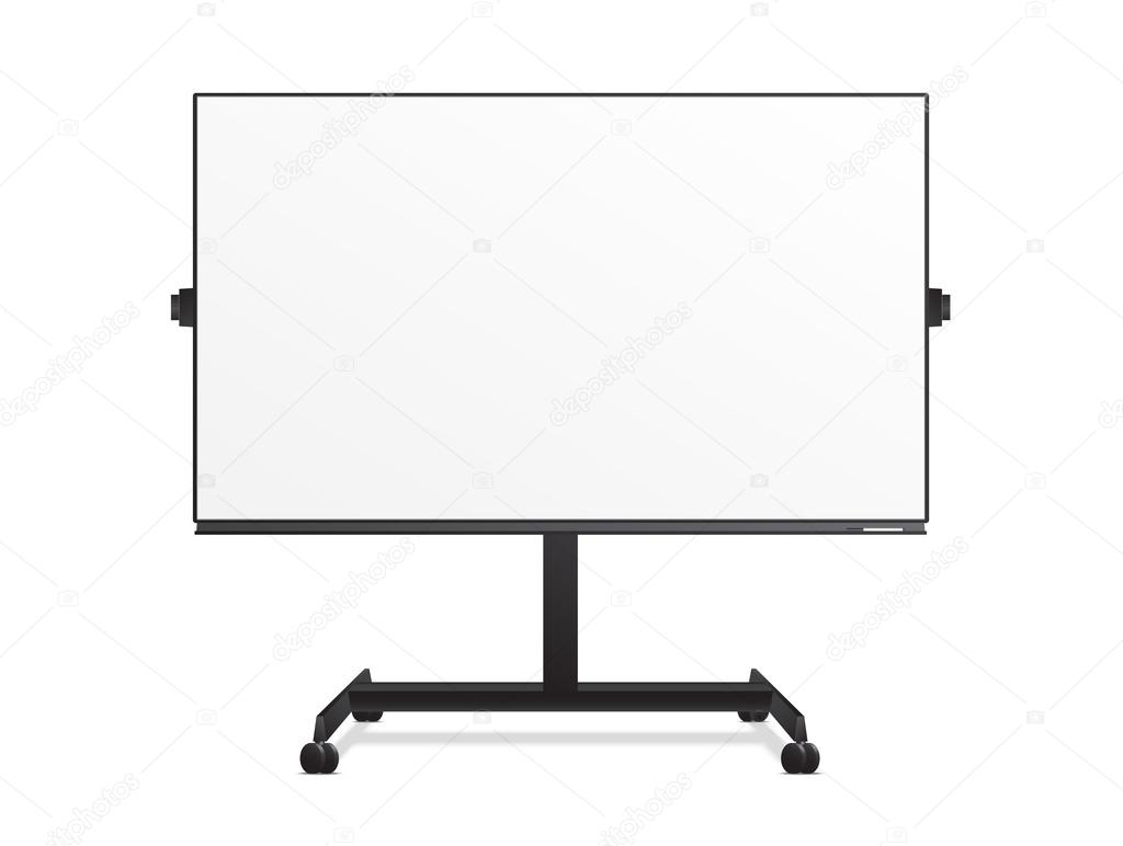 empty white marker board on the floor stand with wheels empty projection screen u2014