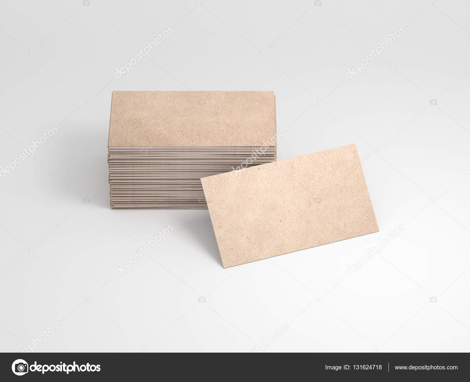 Kraft cardboard business card. Stack of cards, 3d rendering — Stock ...