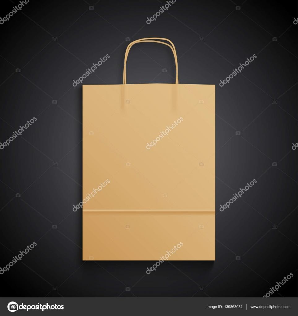 6aaae555a Bolsa de papel Kraft con asas sobre fondo negro. Mock up - mockup sobre  negro — Vector de ...