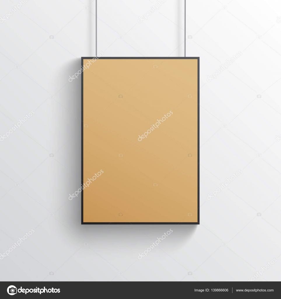 Marrón de cartón maqueta de póster con marco negro, papel de kraft ...