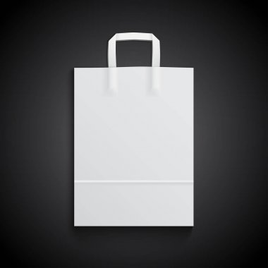 White paper bag mockup with handles for branding on black background