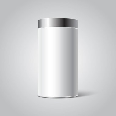 Mockup of White Blank Tin can packaging. Tea, coffee, dry products, gift box